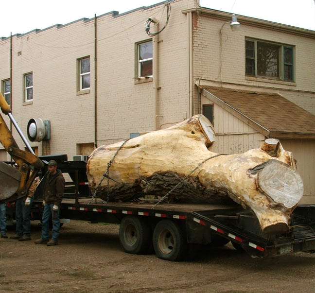 trailer with log backed into alley