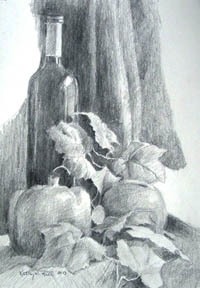 still life drawing by Kathy