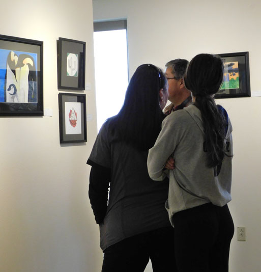 students view art in Fuller