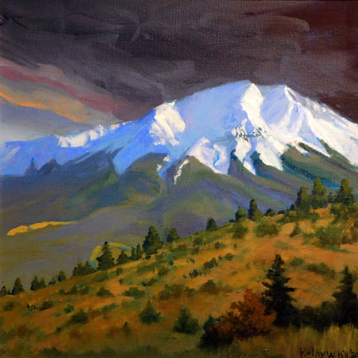 Kathy Hill-West Spanish Peak Against a Darkened Sky